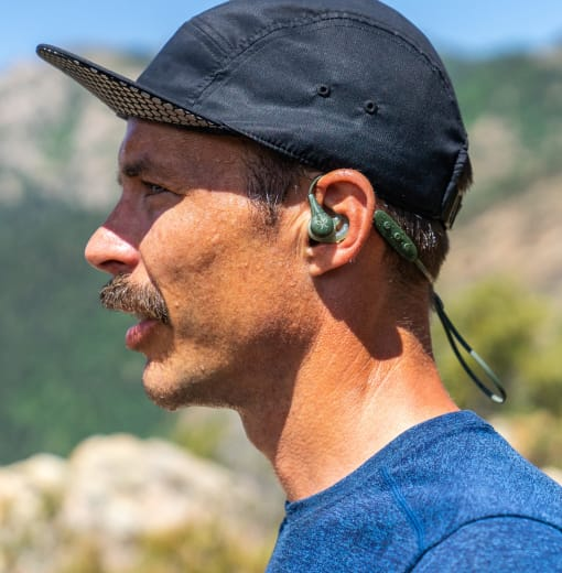 Closeup of a Jaybird Athlete wearing X4 Wireless Headphones