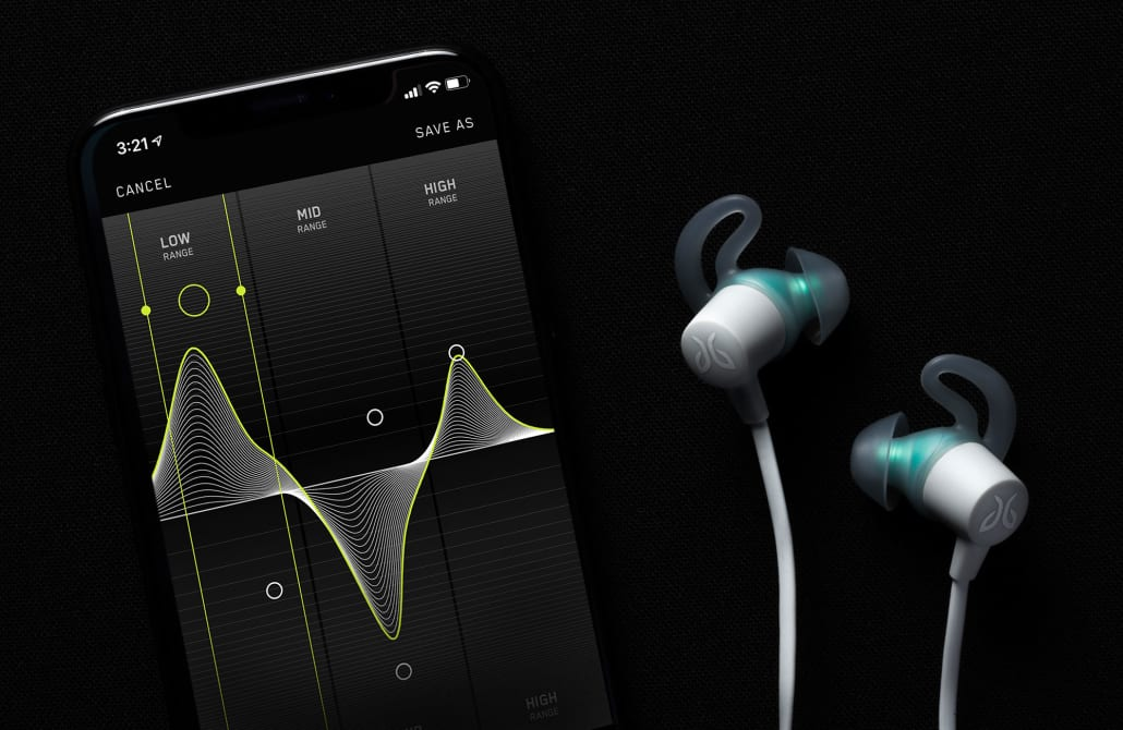 Tarah wireless workout earbuds shown with Jaybird App for customizing sound EQ and presets