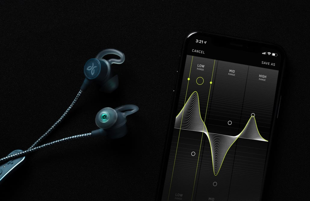 The Tarah Pro wireless earphones shown with the Jaybird App for customizing sound and accessing Spotify