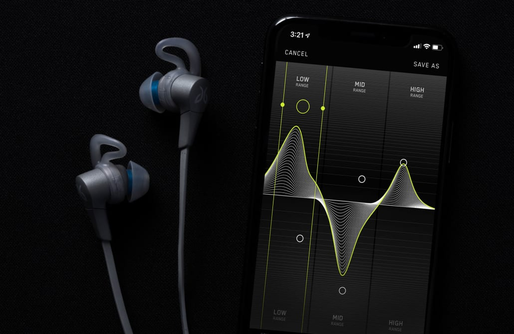 The Jaybird X4 wireless earbuds shown with the Jaybird smarthphone app for sound EQ customizability