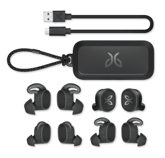 Jaybird Vista wireless earbuds come with USB-C charging cable, charging case & various sized interchangeable eargels