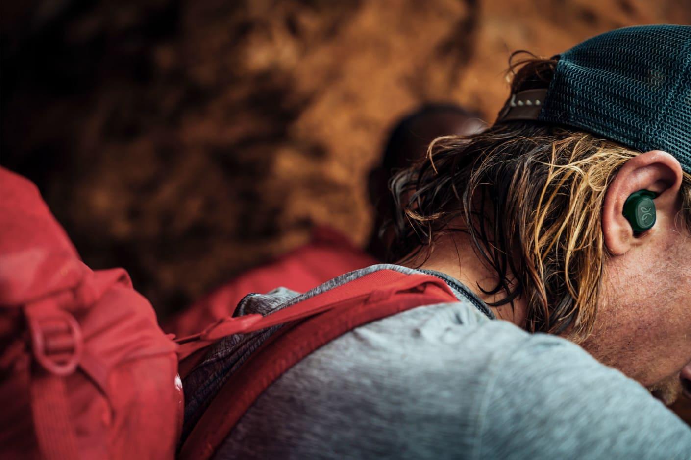 Rock Climber Wearing Jaybird Vista